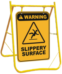 Warning Slippery Surface sign with stand