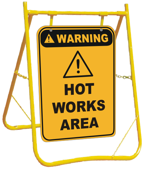 Hot Works Area sign with stand