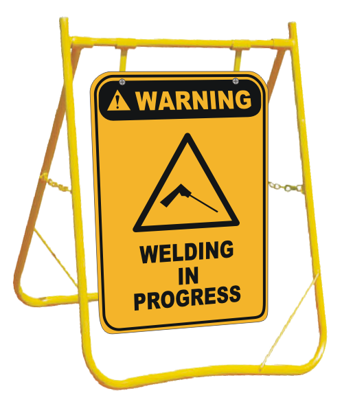 Welding in Progress sign with stand