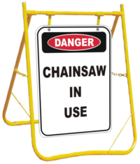 Chainsaw Danger sign with stand