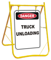 Truck Unloading sign and stand