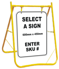 Select a Sign with stand - select one of our signs to go with a stand combo - custom swing stand sign