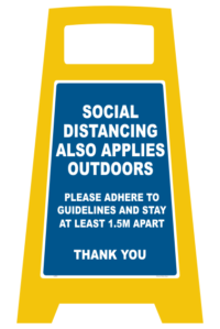 Social Distancing Outdoors A-Frame Sign