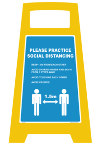 Social Distancing Floor A-Frame Sign