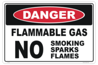 Flammable Gas No Smoking sign - Danger gas