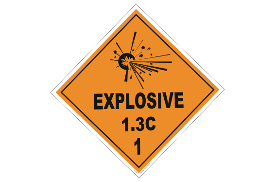 Class 1.3C Explosive Placard
