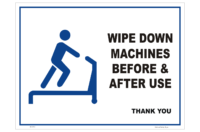 Wipe Machines down in gym sign