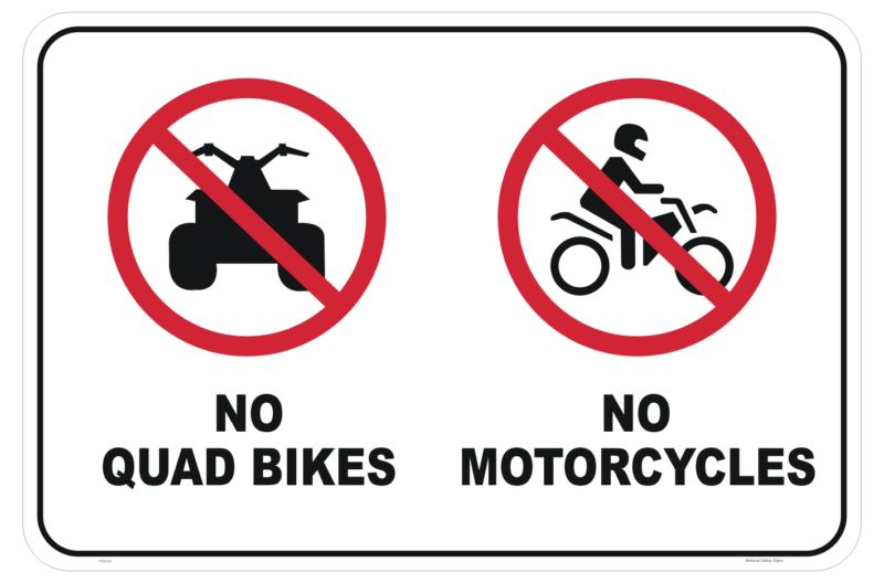 No Motorcycles or Quads sign