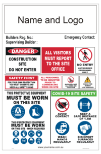 Health and Safety Site Sign - distancing rules on site