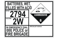 Batteries Filled with Acid Emergency Information Panel
