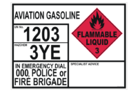 Aviation Gasoline Transport Emergency Information Panel