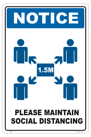 Maintain Social Distancing sign. 1.5 metres