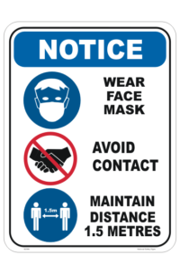 Avoid Contact Distancing. 1.5 metre sign