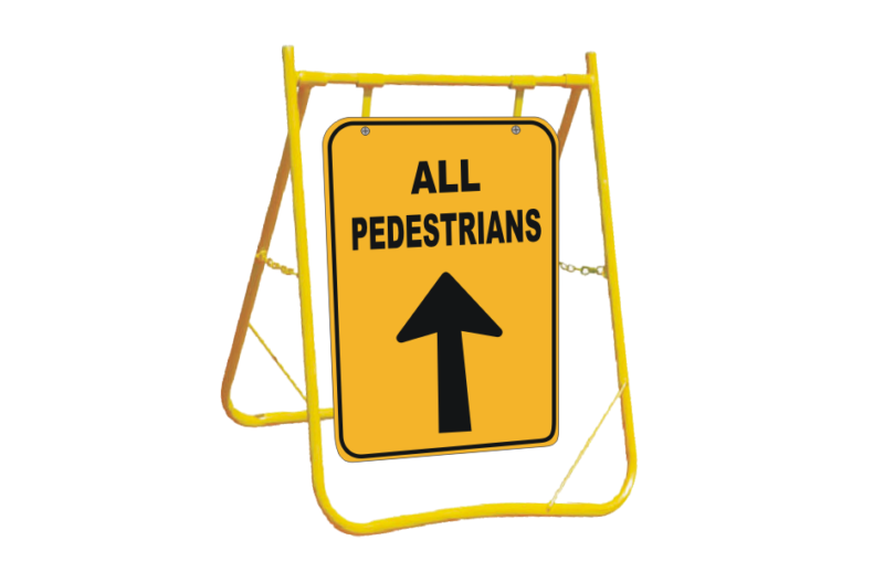 Pedestrians Directional sign with stand