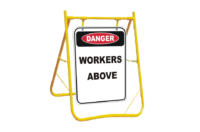 Danger Workers Above sign with stand