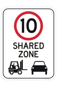 Forklift Shared Zone 10 KPH Sign