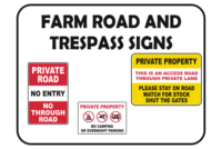 Farm Road and trespass Signs