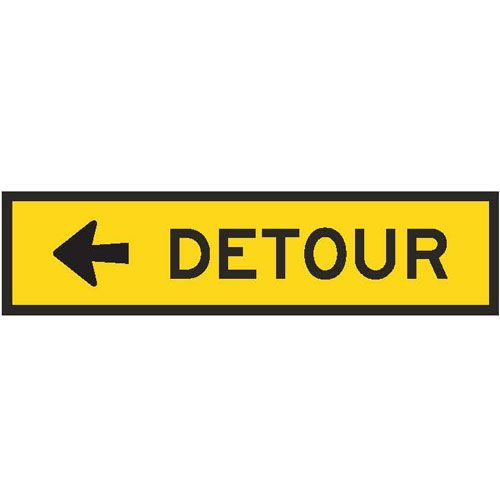 T5-1AL Detour left arrow boxed edge sign