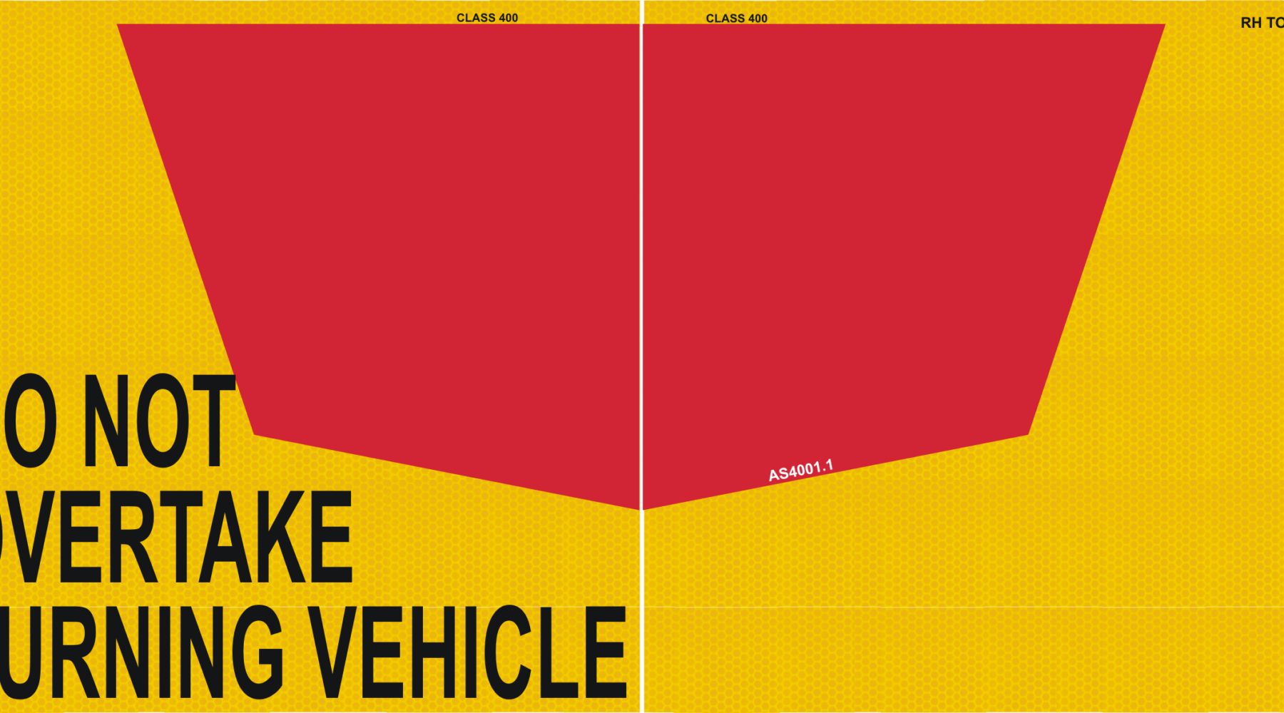 400mm NSW markers - Do not overtake turning vehicle signs