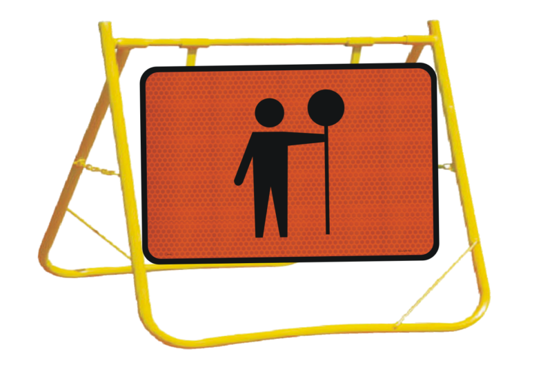 Traffic Controller Ahead Sign and Stand