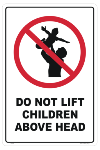 Do Not Lift Children Above Head sign - ceiling fan danger