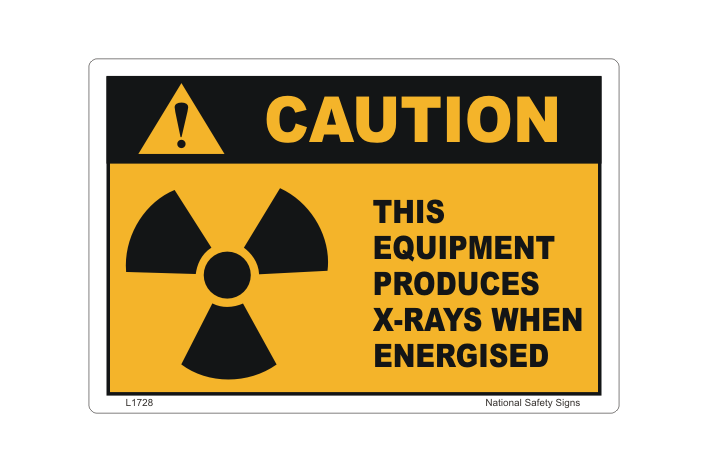 X-rays Produced when Energised sign - x-ray equipment