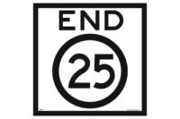 End 25 Sign - 25 kph
