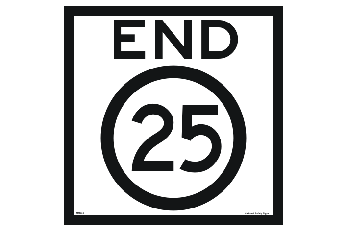 End 25 Sign - 25 kph