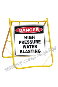 Danger High Pressure Water Blasting sign with stand