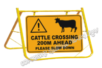Cattle Crossing Ahead Sign and Stand - Stock crossing ahead signs - Cattle Crossing Warning Sign and Stand