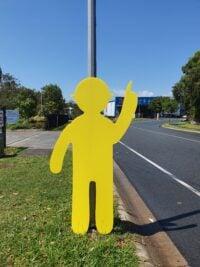Yellow Corflute Pointy Man
